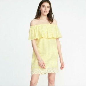 Old Navy Yellow Gingham Off the Shoulder Dress